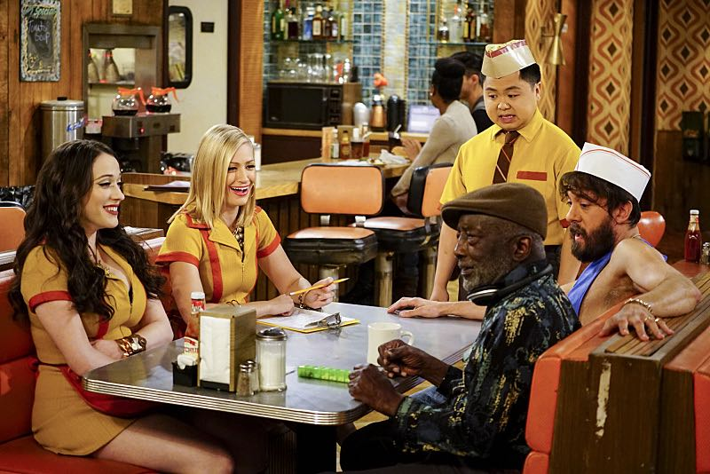 """And The Two Openings: Part One"" -- Pictured: Max Black (Kat Dennings), Caroline Channing (Beth Behrs), Han Lee (Matthew Moy), Earl (Garrett Morris) and Oleg (Jonathan Kite). As Max and Caroline, now part owners of the diner, put the finishing touches on their newly converted Dessert Bar, Max deals with the aftermath of her recent breakup with Randy, and Sophie and Oleg prepare for the birth of their baby, on the sixth season premiere of 2 BROKE GIRLS, Monday, Oct. 10 (9:00-9:30 PM, ET/PT) on the CBS Television Network. Photo: Sonja Flemming/CBS ©2016 CBS Broadcasting, Inc. All Rights Reserved"