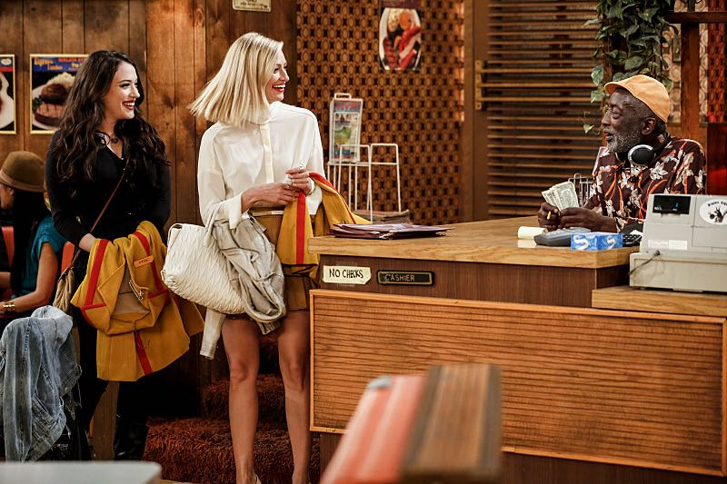 """And The Two Openings: Part One"" -- Pictured: Max Black (Kat Dennings), Caroline Channing (Beth Behrs) and Earl (Garrett Morris). As Max and Caroline, now part owners of the diner, put the finishing touches on their newly converted Dessert Bar, Max deals with the aftermath of her recent breakup with Randy, and Sophie and Oleg prepare for the birth of their baby, on the sixth season premiere of 2 BROKE GIRLS, Monday, Oct. 10 (9:00-9:30 PM, ET/PT) on the CBS Television Network. Photo: Cliff Lipson/CBS ©2016 CBS Broadcasting, Inc. All Rights Reserved. All rights reserved."