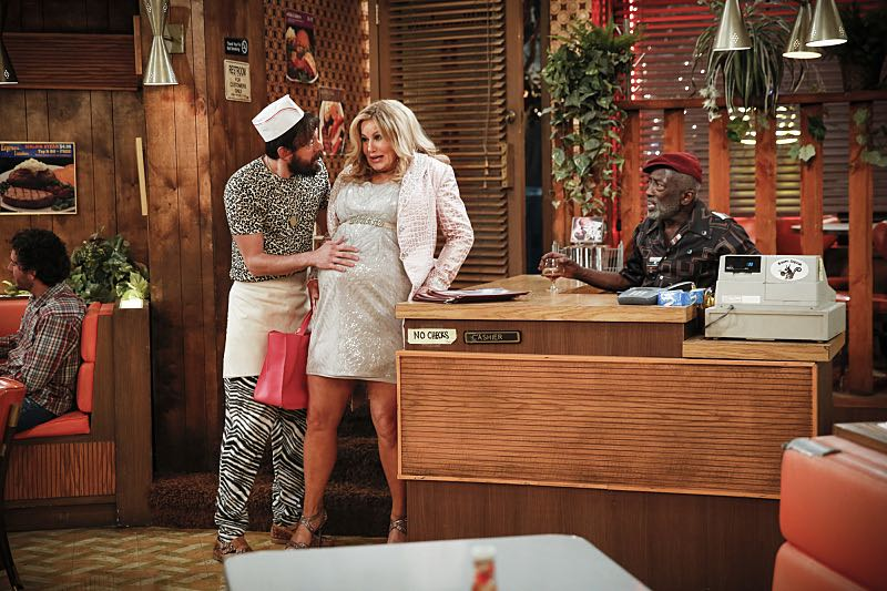 """And The Two Openings: Part One"" -- Pictured: Oleg (Jonathan Kite), Sophie (Jennifer Coolidge) and Earl (Garrett Morris). As Max and Caroline, now part owners of the diner, put the finishing touches on their newly converted Dessert Bar, Max deals with the aftermath of her recent breakup with Randy, and Sophie and Oleg prepare for the birth of their baby, on the sixth season premiere of 2 BROKE GIRLS, Monday, Oct. 10 (9:00-9:30 PM, ET/PT) on the CBS Television Network. Photo: Cliff Lipson/CBS ©2016 CBS Broadcasting, Inc. All Rights Reserved. All rights reserved."