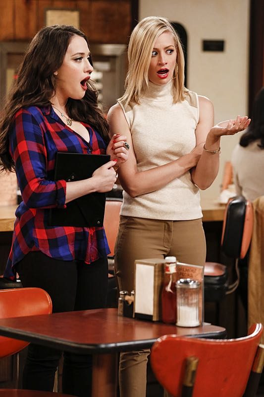 """And The Two Openings: Part One"" -- Pictured: Max Black (Kat Dennings) and Caroline Channing (Beth Behrs).As Max and Caroline, now part owners of the diner, put the finishing touches on their newly converted Dessert Bar, Max deals with the aftermath of her recent breakup with Randy, and Sophie and Oleg prepare for the birth of their baby, on the sixth season premiere of 2 BROKE GIRLS, Monday, Oct. 10 (9:00-9:30 PM, ET/PT) on the CBS Television Network. Photo: Cliff Lipson/CBS ©2016 CBS Broadcasting, Inc. All Rights Reserved. All rights reserved."