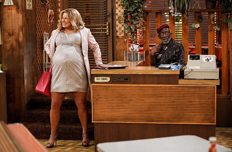 """And The Two Openings: Part One"" -- Pictured: Sophie (Jennifer Coolidge) and Earl (Garrett Morris). As Max and Caroline, now part owners of the diner, put the finishing touches on their newly converted Dessert Bar, Max deals with the aftermath of her recent breakup with Randy, and Sophie and Oleg prepare for the birth of their baby, on the sixth season premiere of 2 BROKE GIRLS, Monday, Oct. 10 (9:00-9:30 PM, ET/PT) on the CBS Television Network. Photo: Cliff Lipson/CBS ©2016 CBS Broadcasting, Inc. All Rights Reserved. All rights reserved."