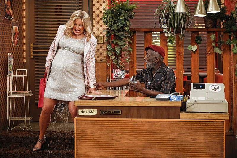 """And The Two Openings: Part One"" -- Pictured: Sophie (Jennifer Coolidge) and Earl (Garrett Morris).As Max and Caroline, now part owners of the diner, put the finishing touches on their newly converted Dessert Bar, Max deals with the aftermath of her recent breakup with Randy, and Sophie and Oleg prepare for the birth of their baby, on the sixth season premiere of 2 BROKE GIRLS, Monday, Oct. 10 (9:00-9:30 PM, ET/PT) on the CBS Television Network. Photo: Cliff Lipson/CBS ©2016 CBS Broadcasting, Inc. All Rights Reserved. All rights reserved."