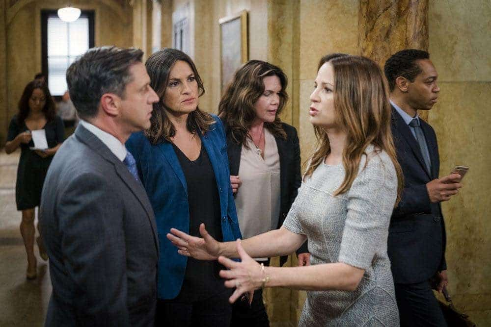 "LAW & ORDER: SPECIAL VICTIMS UNIT -- ""Imposter"" Episode 1803 -- Pictured: (l-r) Raul Esparza as A.D.A. Rafael Barba, Mariska Hargitay as Lieutenant Olivia Benson, Paula Marshall as Laura Collett -- (Photo by: Michael Parmelee/NBC)"
