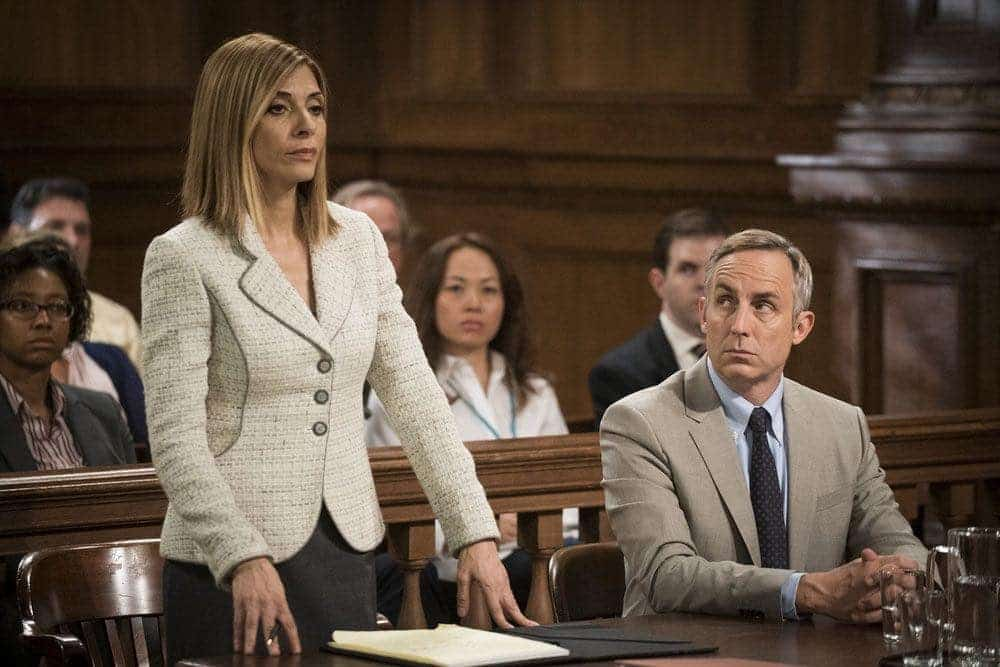 "LAW & ORDER: SPECIAL VICTIMS UNIT -- ""Imposter"" Episode 1803 -- Pictured: (l-r) Callie Thorne as Counselor Katherine Drexler, Wallace Langham as Tom Metcalf -- (Photo by: Michael Parmelee/NBC)"