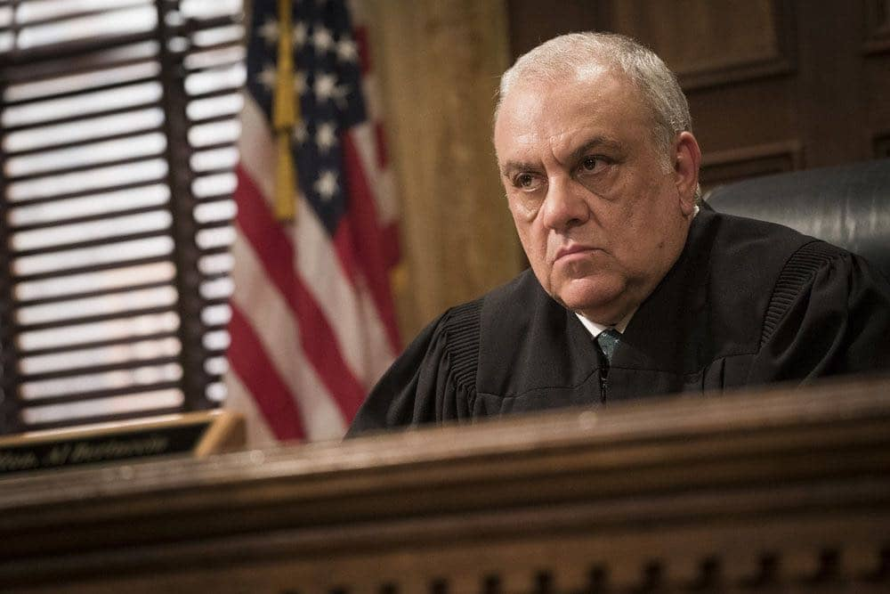 "LAW & ORDER: SPECIAL VICTIMS UNIT -- ""Imposter"" Episode 1803 -- Pictured: Vincent Curatola as Judge Al Bertuccio -- (Photo by: Michael Parmelee/NBC)"