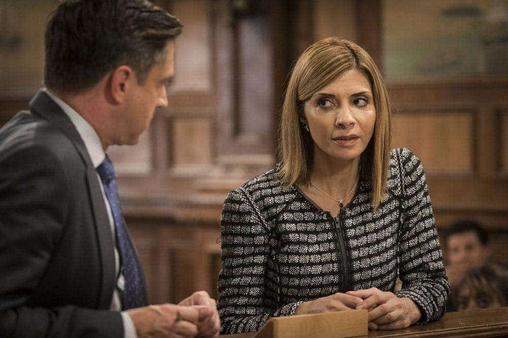 "LAW & ORDER: SPECIAL VICTIMS UNIT -- ""Imposter"" Episode 1803 -- Pictured: (l-r) Raul Esparza as A.D.A. Rafael Barba, Callie Thorne as Counselor Katherine Drexler -- (Photo by: Michael Parmelee/NBC)"