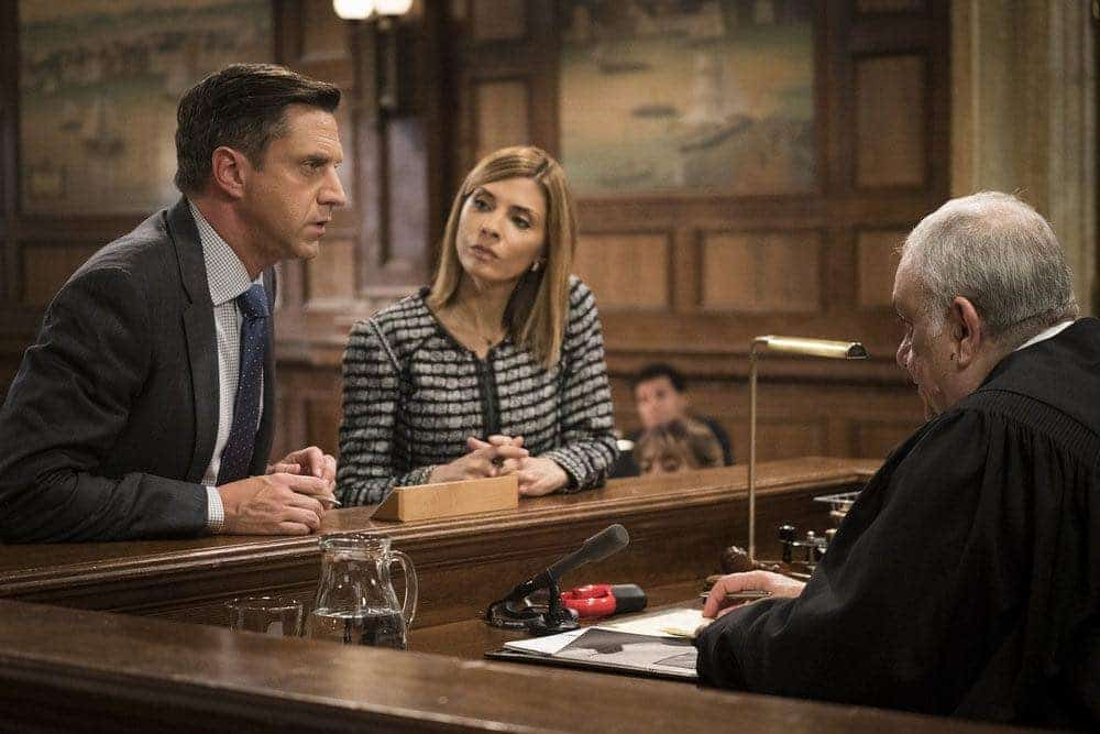 "LAW & ORDER: SPECIAL VICTIMS UNIT -- ""Imposter"" Episode 1803 -- Pictured: (l-r) Raul Esparza as A.D.A. Rafael Barba, Callie Thorne as Counselor Katherine Drexler, Vincent Curatola as Judge Al Bertuccio -- (Photo by: Michael Parmelee/NBC)"