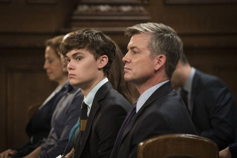 "LAW & ORDER: SPECIAL VICTIMS UNIT -- ""Imposter"" Episode 1803 -- Pictured: (l-r) Conor Proft as Justin Collett, Chris Henrey Coffey as James Collett -- (Photo by: Michael Parmelee/NBC)"