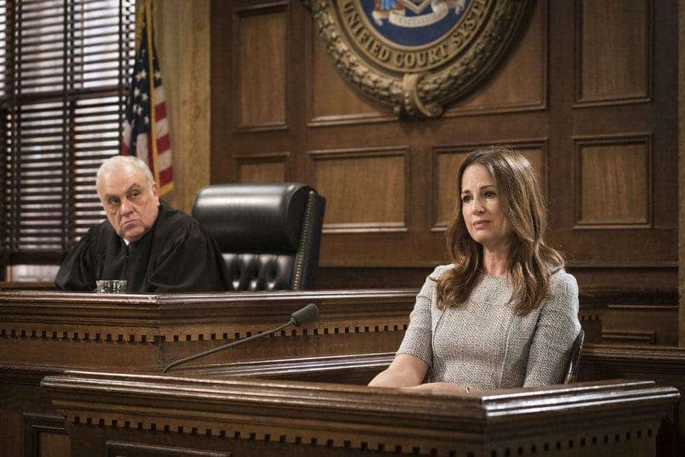 "LAW & ORDER: SPECIAL VICTIMS UNIT -- ""Imposter"" Episode 1803 -- Pictured: (l-r) Vincent Curatola as Judge Al Bertuccio, Paula Marshall as Laura Collett -- (Photo by: Michael Parmelee/NBC)"