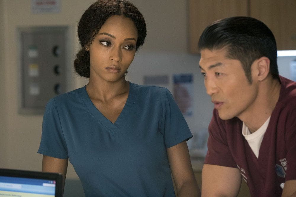 "CHICAGO MED -- ""Brother's Keeper"" Episode 204 -- Pictured: (l-r) Yaya DaCosta as April Sexton, Brian Tee as Ethan Choi -- (Photo by: Elizabeth Sisson/NBC)"