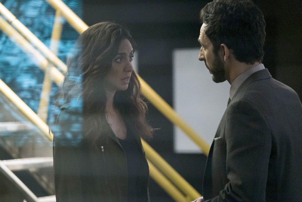 "THE BLACKLIST -- ""Gaia: #81"" Episode 404 -- Pictured: (l-r) Mozhan Marno as Samar Navabi, Amir Arison as Aram Mojtabai -- (Photo by: Virginia Sherwood/NBC)"