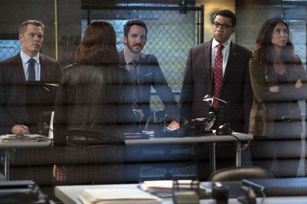 "THE BLACKLIST -- ""Gaia: #81"" Episode 404 -- Pictured: (l-r) Diego Klatenhoff as Donald Ressler, Megan Boone as Elizabeth Keen, Amir Arison as Aram Mojtabai, Harry Lennix as Harold Cooper, Mozhan Marno as Samar Navabi -- (Photo by: Virginia Sherwood/NBC)"