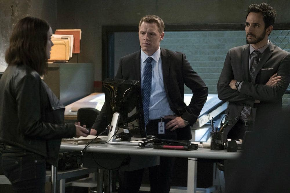 "THE BLACKLIST -- ""Gaia: #81"" Episode 404 -- Pictured: (l-r) Megan Boone as Elizabeth Keen, Diego Klattenhoff as Donald Ressler, Amir Arison as Aram Mojtabai -- (Photo by: Virginia Sherwood/NBC)"