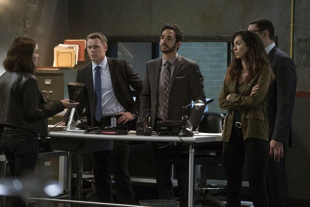"THE BLACKLIST -- ""Gaia: #81"" Episode 404 -- Pictured: (l-r) Megan Boone as Elizabeth Keen, Diego Klattenhoff as Donald Ressler, Amir Arison as Aram Mojtabai, Mozhan Marno as Samar Navabi, Harry Lennix as Harold Cooper -- (Photo by: Virginia Sherwood/NBC)"