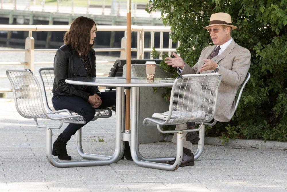 "THE BLACKLIST -- ""Gaia: #81"" Episode 404 -- Pictured: (l-r) Megan Boone as Elizabeth Keen, James Spader as Raymond ""Red"" Reddington -- (Photo by: Virginia Sherwood/NBC)"