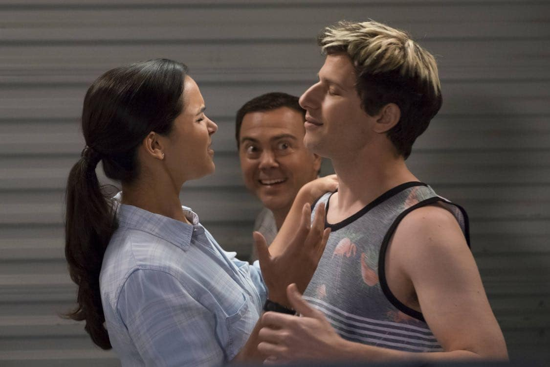 "BROOKLYN NINE-NINE: L-R: Amy Santiago, Joe Lo Truglio and Andy Samberg in the ""Coral Palms Pt.3"" episode of BROOKLYN NINE-NINE airing Tuesday, Oct. 4 (8:00-8:30 PM ET/PT) on FOX. CR: John P Fleenor/FOX"