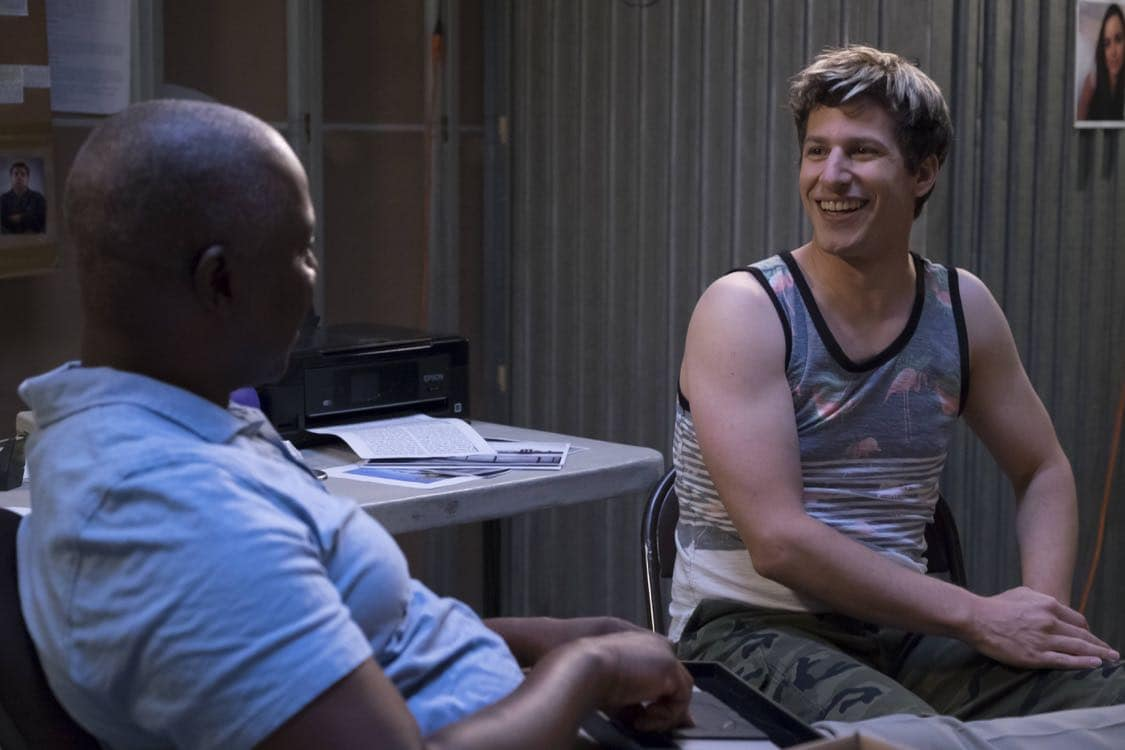 "BROOKLYN NINE-NINE: L-R: Andre Braugher and Andy Samberg in the ""Coral Palms Pt.3"" episode of BROOKLYN NINE-NINE airing Tuesday, Oct. 4 (8:00-8:30 PM ET/PT) on FOX. CR: John P Fleenor/FOX"