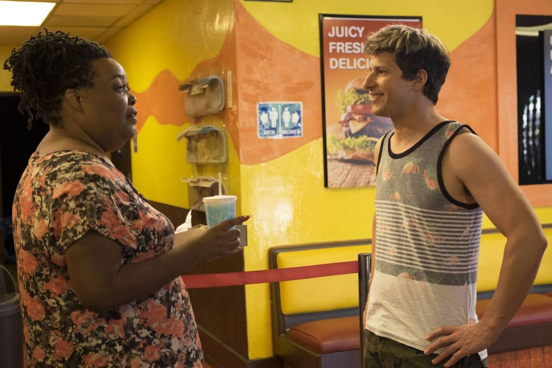 "BROOKLYN NINE-NINE: Andy Samberg in the ""Coral Palms Pt.3"" episode of BROOKLYN NINE-NINE airing Tuesday, Oct. 4 (8:00-8:30 PM ET/PT) on FOX. CR: John P Fleenor/FOX"