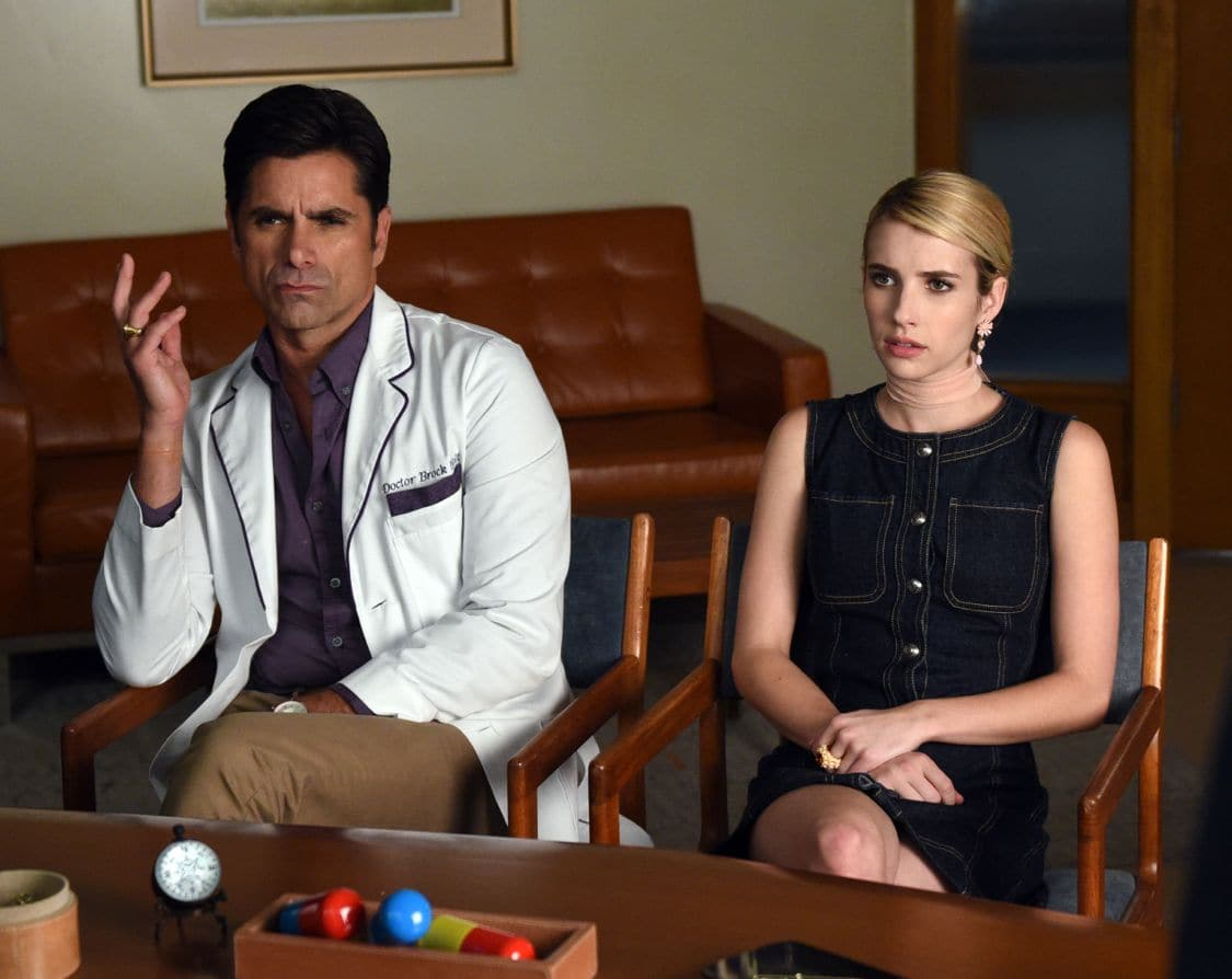 "SCREAM QUEENS: L-R: John Stamos and Rebecca Roberts in the all-new ""Handidates"" episode of SCREAM QUEENS airing Tuesday, Oct. 11 (9:01-10:00 PM ET/PT) on FOX. Cr: Michael Becker / FOX. © 2016 FOX Broadcasting Co."