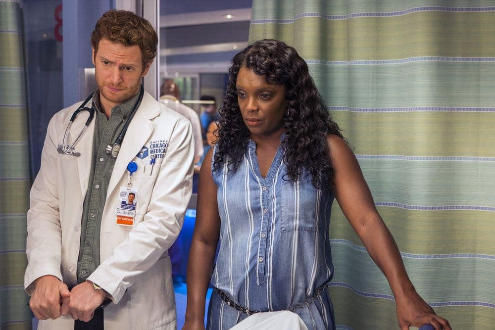 """CHICAGO MED -- """"Natural History"""" Episode 202 -- Pictured: (l-r) Nick Gehlfuss as Will Halstead, Marlyne Barrett as Maggie Lockwood -- (Photo by: Parrish Lewis/NBC)"""