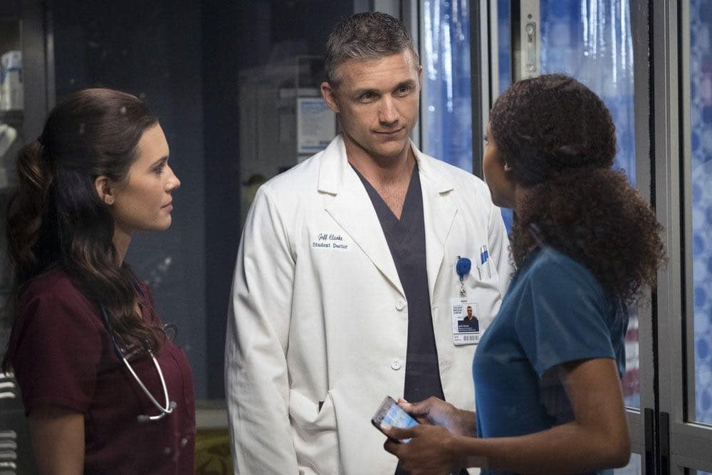 """CHICAGO MED -- """"Natural History"""" Episode 202 -- Pictured: (l-r) Torrey DeVitto as Natalie Manning, Jeff Hephner as Jeff Clarke, Yaya DaCosta as April Sexton -- (Photo by: Elizabeth Sisson/NBC)"""