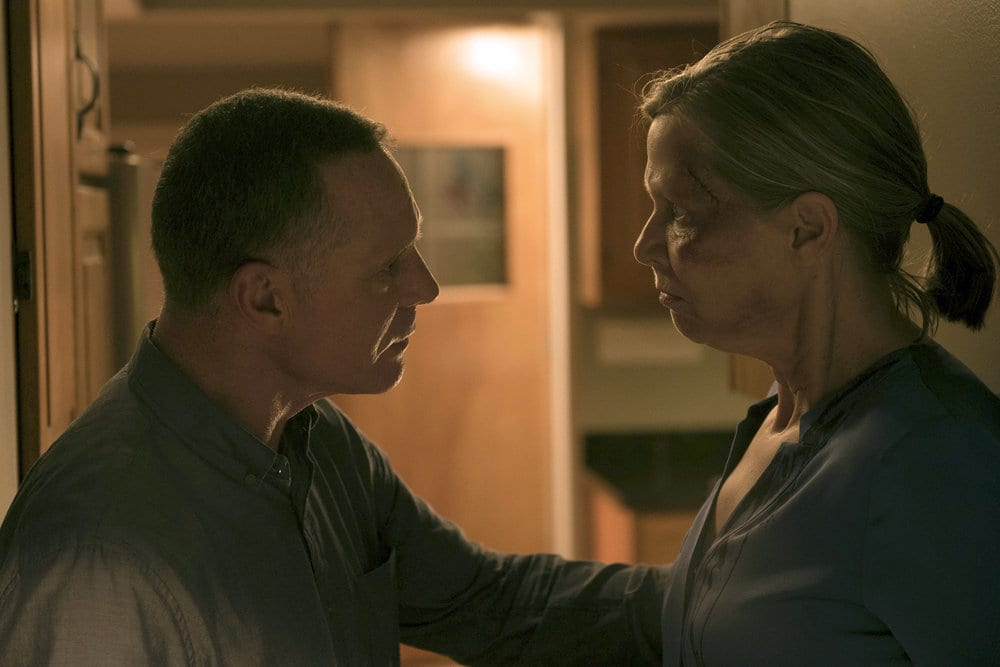 """CHICAGO P.D. -- """"All Cylinders Firing"""" Episode 403 -- Pictured: (l-r) Jason Beghe as Hank Voight, Amy Morton as Trudy Platt -- (Photo by: Jean Whiteside/NBC)"""