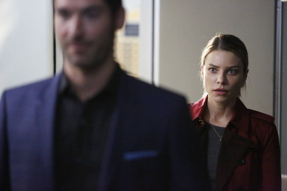"LUCIFER: L-R: Tom Ellis and Lauren German in the ""Liar, Liar, Slutty Dress on Fire"" episode of LUCIFER airing Monday, Oct. 3 (9:01-10:00 PM ET/PT) on FOX. Cr: Bettina Strauss/FOX."