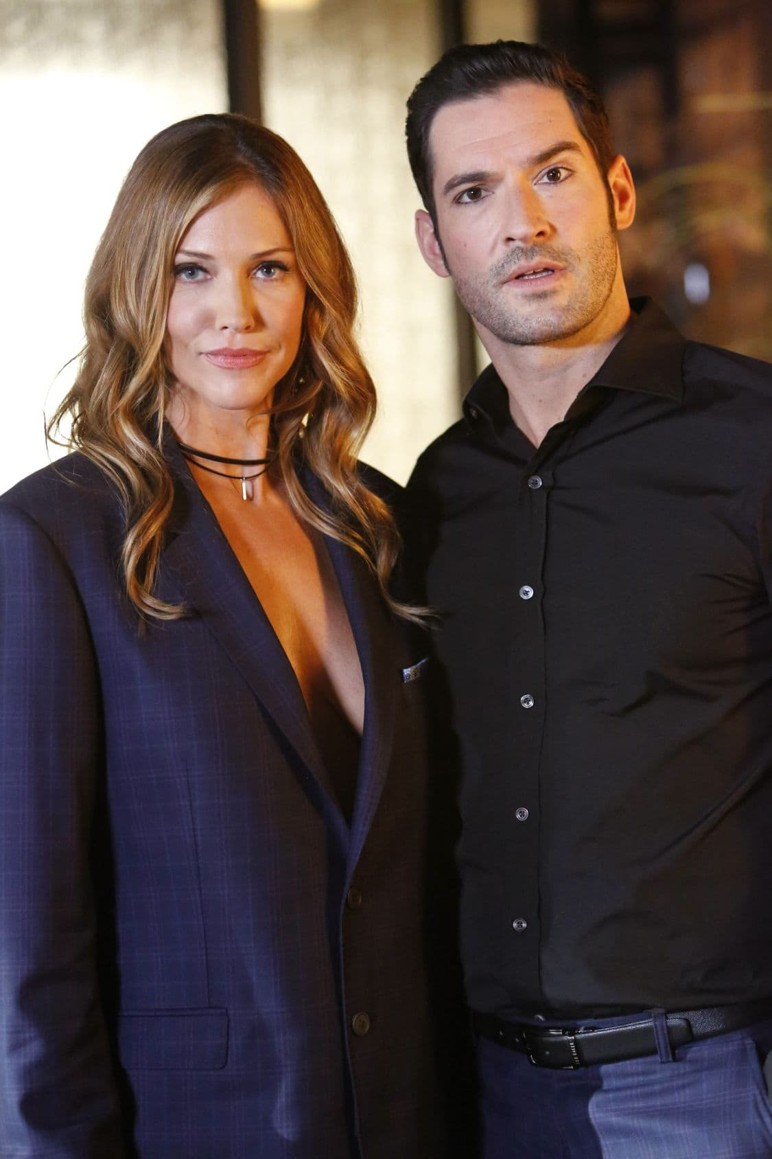 "LUCIFER: L-R: Tricia Helfer and Tom Ellis in the ""Liar, Liar, Slutty Dress on Fire"" episode of LUCIFER airing Monday, Oct. 3 (9:01-10:00 PM ET/PT) on FOX. Cr: Bettina Strauss/FOX."