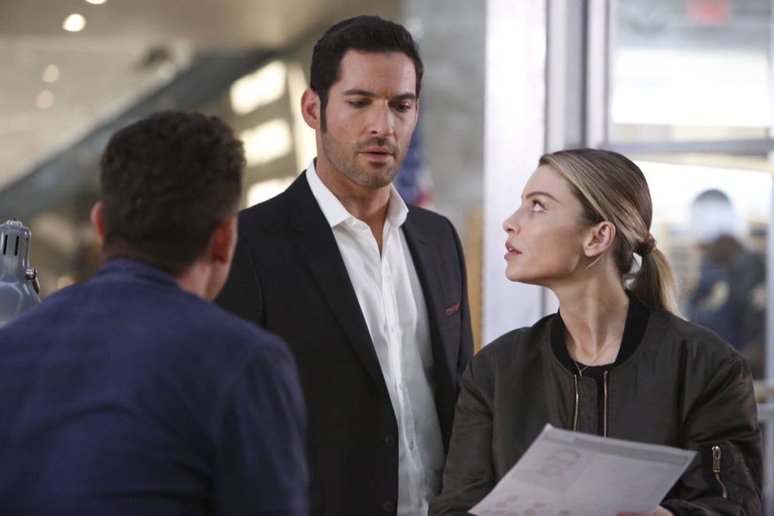 "LUCIFER: L-R: Kevin Alejandro, Tom Ellis and Lauren German in the ""Liar, Liar, Slutty Dress on Fire"" episode of LUCIFER airing Monday, Oct. 3 (9:01-10:00 PM ET/PT) on FOX. Cr: Bettina Strauss/FOX."