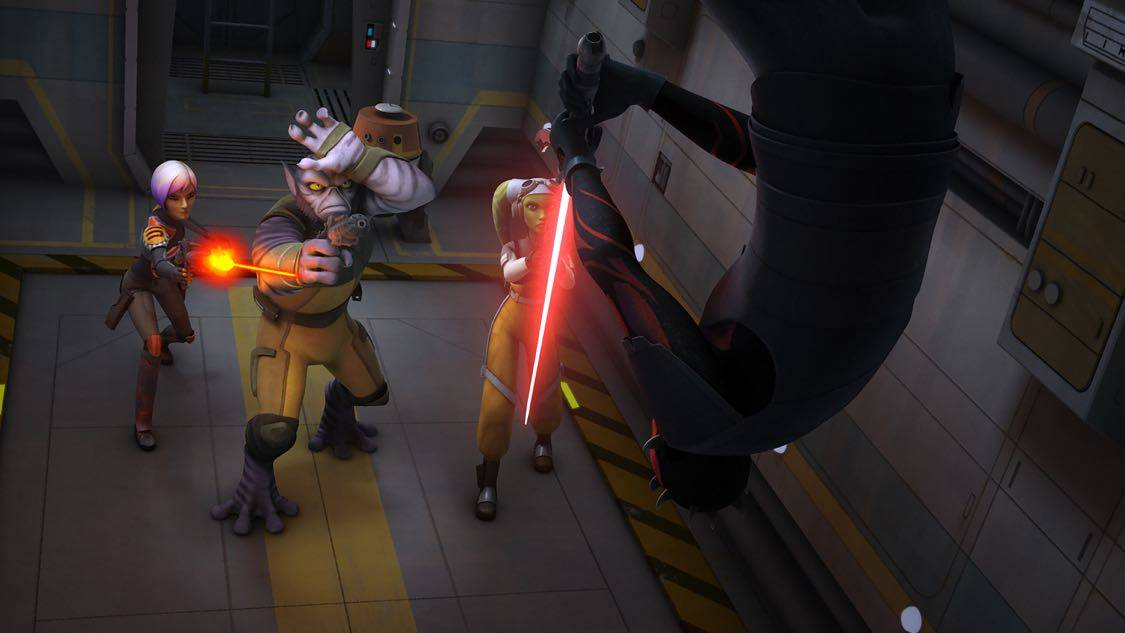 "STAR WARS REBELS - ""The Holocrons of Fate"" - When Maul takes the crew of the Ghost hostage, Ezra and Kanan must recover an ancient Sith artifact to save them. This episode of ""Star Wars Rebels"" airs Saturday, October 01 (8:30-9:00 P.M. EDT) on Disney XD. (Lucasfilm) SABINE, ZEB, HERA, DARTH MAUL"