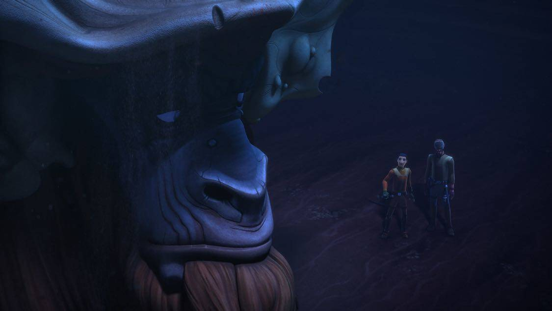 "STAR WARS REBELS - ""The Holocrons of Fate"" - When Maul takes the crew of the Ghost hostage, Ezra and Kanan must recover an ancient Sith artifact to save them. This episode of ""Star Wars Rebels"" airs Saturday, October 01 (8:30-9:00 P.M. EDT) on Disney XD. (Lucasfilm) BENDU, EZRA, KANAN"