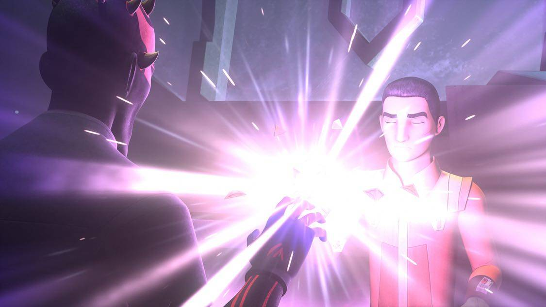 "STAR WARS REBELS - ""The Holocrons of Fate"" - When Maul takes the crew of the Ghost hostage, Ezra and Kanan must recover an ancient Sith artifact to save them. This episode of ""Star Wars Rebels"" airs Saturday, October 01 (8:30-9:00 P.M. EDT) on Disney XD. (Lucasfilm) DARTH MAUL, EZRA"