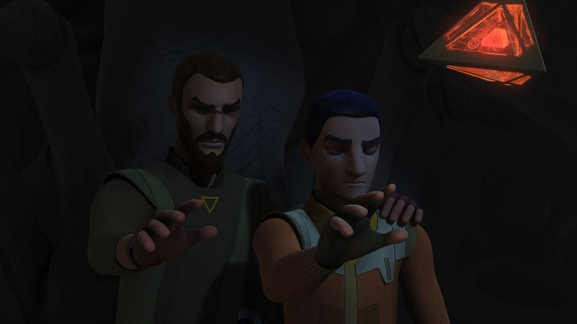 """STAR WARS REBELS - """"The Holocrons of Fate"""" - When Maul takes the crew of the Ghost hostage, Ezra and Kanan must recover an ancient Sith artifact to save them. This episode of """"Star Wars Rebels"""" airs Saturday, October 01 (8:30-9:00 P.M. EDT) on Disney XD. (Lucasfilm) KANAN, EZRA"""