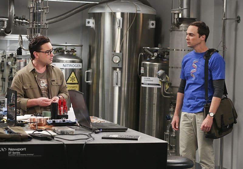 """The Dependence Transcendence"" -- Pictured: Leonard Hofstadter (Johnny Galecki) and Sheldon Cooper (Jim Parsons). Tensions rise when the boys struggle to complete their government project on time and Sheldon tries an energy drink to stay awake. Also, Penny and Amy go to a ""party"" at Bert (Brian Posehn) the geologist's house and Kooothrappali learns Bernadette's true feelings about her pregnancy when they clean out the future baby room, on THE BIG BANG THEORY, Monday, Oct. 3 (8:00-8:31 PM, ET/PT), on the CBS Television Network. Dean Norris returns as Air Force Representative Colonel Williams. Photo: Michael Yarish/Warner Bros. Entertainment Inc. © 2016 WBEI. All rights reserved."