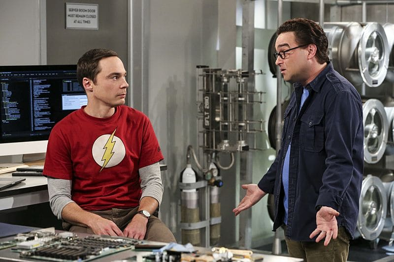 """The Dependence Transcendence"" -- Pictured: Sheldon Cooper (Jim Parsons) and Leonard Hofstadter (Johnny Galecki). Tensions rise when the boys struggle to complete their government project on time and Sheldon tries an energy drink to stay awake. Also, Penny and Amy go to a ""party"" at Bert (Brian Posehn) the geologist's house and Kooothrappali learns Bernadette's true feelings about her pregnancy when they clean out the future baby room, on THE BIG BANG THEORY, Monday, Oct. 3 (8:00-8:31 PM, ET/PT), on the CBS Television Network. Dean Norris returns as Air Force Representative Colonel Williams. Photo: Michael Yarish/Warner Bros. Entertainment Inc. © 2016 WBEI. All rights reserved."