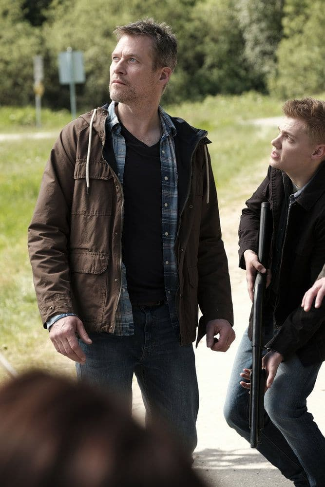 """AFTERMATH -- """"RVL 6768"""" Episode 101 -- Pictured: (l-r) James Tupper as Joshua Copeland, Levi Meaden as Matt Copeland -- (Photo by: Eike Schroter/Aftermath ULC/Syfy)"""