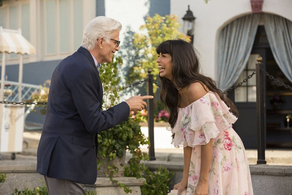 "THE GOOD PLACE -- ""Jason Mendoza"" Episode 104 -- Pictured: Ted Danson as Michael, Jameela Jamil as Tehani -- (Photo by: Justin Lubin/NBC)"