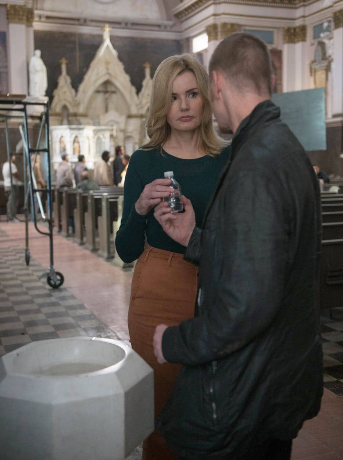 "THE EXORCIST: L-R: Geena Davis and Ben Daniels in the ""Lupus in Fabula"" episode of THE EXORCIST airing Friday, Sept. 30 (9:00-10:00 PM ET/PT) on FOX. ©2016 Fox Broadcasting Co. Cr: Jean Whiteside/FOX"