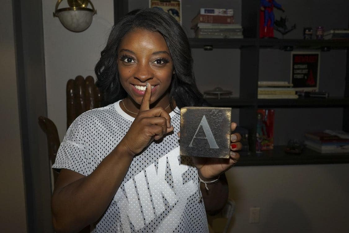 "PRETTY LITTLE LIARS - USA Olympic gold medal gymnast Simone Biles visits the set of 'Pretty Little Liars.'"" (Freeform/Byron Cohen) SIMONE BILES"