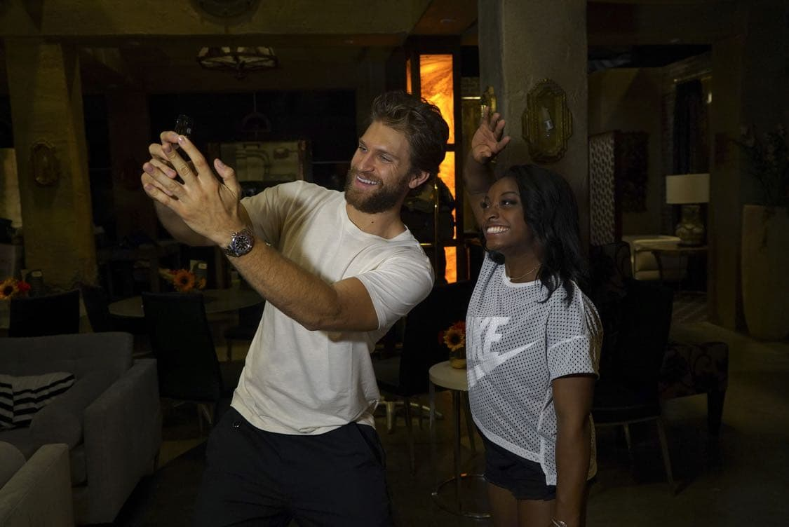 "PRETTY LITTLE LIARS - USA Olympic gold medal gymnast Simone Biles visits the set of 'Pretty Little Liars.'"" (Freeform/Byron Cohen) KEEGAN ALLEN, SIMONE BILES"