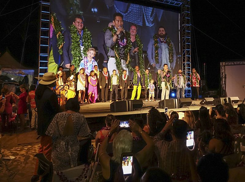 The cast of Hawaii Five-0 on stage at the seventh annual Sunset on the Beach event, where thousands of Oahu residents and visitors gathered in Waikiki to watch the season seven premiere of Hawaii Five-0, titled Makaukau 'oe e pa 'ani, on Friday, Sept. 23, 2016, in Honolulu. Photo: Norman Shapiro/CBS © 2016 CBS Broadcasting, Inc. All Rights Reserved