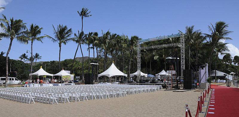 The seventh annual Sunset on the Beach seating and stage is ready, where thousands of Oahu residents and visitors gathered in Waikiki to watch the season seven premiere of Hawaii Five-0, titled Makaukau 'oe e pa 'ani, on Friday, Sept. 23, 2016, in Honolulu. Photo: Norman Shapiro/CBS © 2016 CBS Broadcasting, Inc. All Rights Reserved