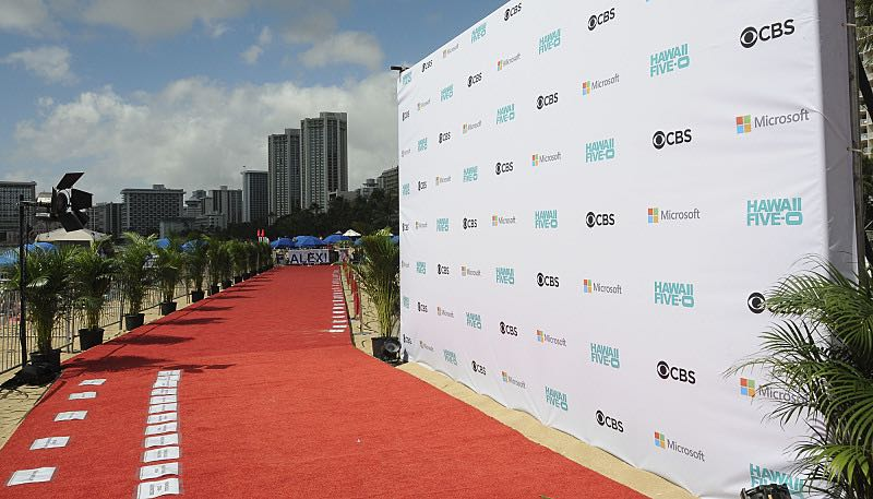 The red carpet is rolled out and ready at the seventh annual Sunset on the Beach event, where thousands of Oahu residents and visitors gathered in Waikiki to watch the season seven premiere of Hawaii Five-0, titled Makaukau 'oe e pa 'ani, on Friday, Sept. 23, 2016, in Honolulu. Photo: Norman Shapiro/CBS © 2016 CBS Broadcasting, Inc. All Rights Reserved