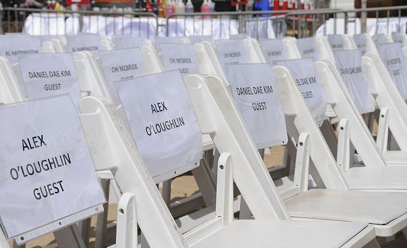 Chairs with the names of the Hawaii Five-0 cast sit ready for the seventh annual Sunset on the Beach event, where thousands of Oahu residents and visitors gathered in Waikiki to watch the season seven premiere of Hawaii Five-0, titled Makaukau 'oe e pa 'ani, on Friday, Sept. 23, 2016, in Honolulu. Photo: Norman Shapiro/CBS © 2016 CBS Broadcasting, Inc. All Rights Reserved