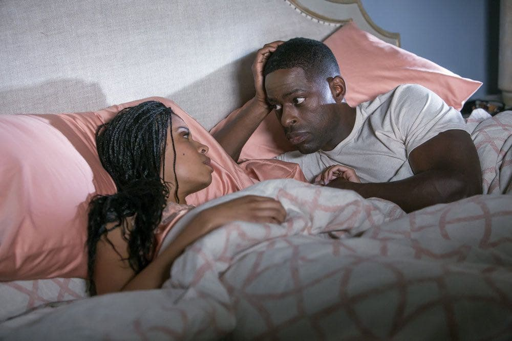 """THIS IS US -- """"The Big Three"""" Episode 102 -- Pictured: (l-r) Susan Kelechi Watson as Beth, Sterling K. Brown as Randall -- (Photo by: Ron Batzdorff/NBC)"""