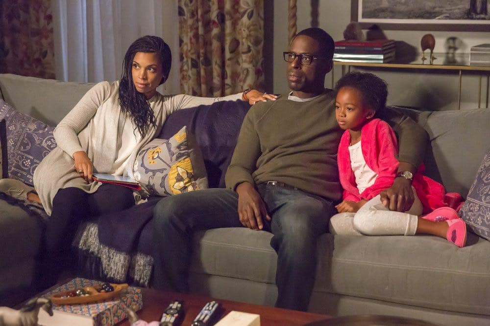 """THIS IS US -- """"The Big Three"""" Episode 102 -- Pictured: (l-r) Susan Kelechi Watson as Beth, Sterling K. Brown as Randall, Faithe Herman as Annie -- (Photo by: Ron Batzdorff/NBC)"""