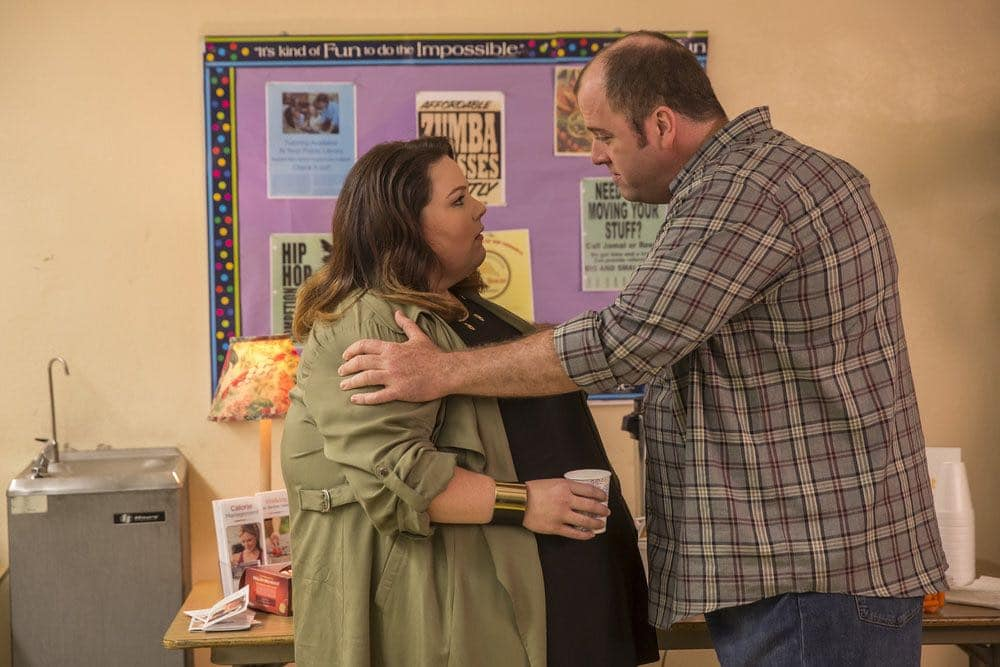 """THIS IS US -- """"The Big Three"""" Episode 102 -- Pictured: (l-r) Chrissy Metz as Kate, Chris Sullivan as Toby -- (Photo by: Ron Batzdorff/NBC)"""
