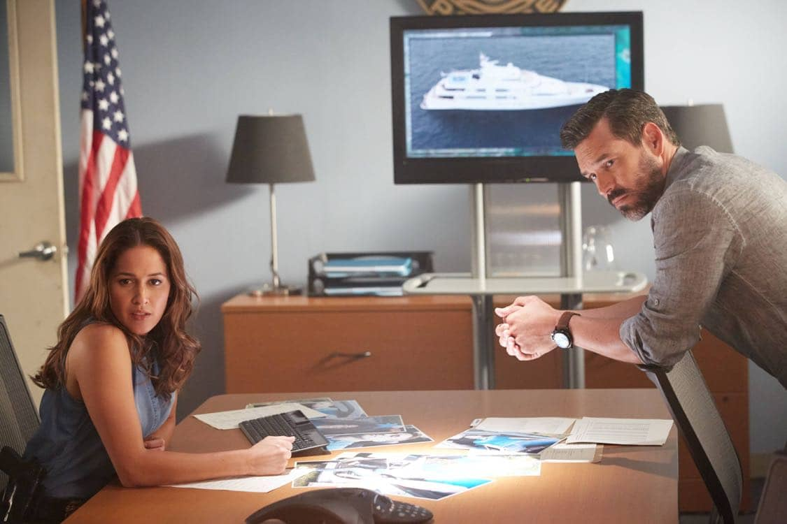 "ROSEWOOD: Pictured L-R: Jaina Lee Ortiz and Eddie Cibria in the ""Secrets and Silent Killers"" episode of ROSEWOOD airing Thursday, Sept. 29 (8:-00-8:50 PM ET/PT) on FOX. ©2016 Fox Broadcasting Co. CR: Tyler Golden/FOX"