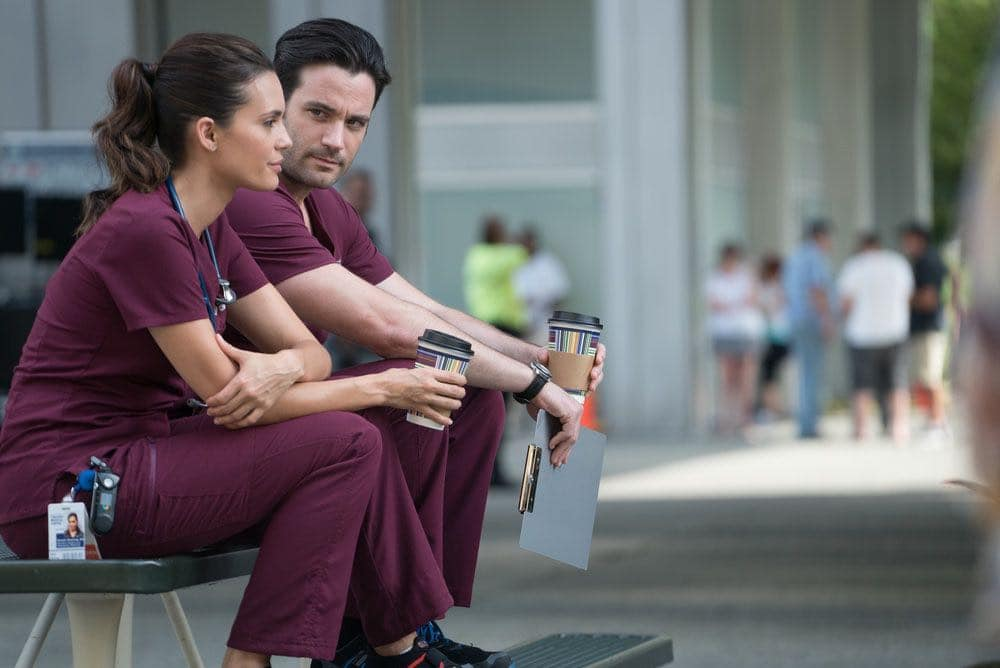 """CHICAGO MED -- """"Win Loss"""" Episode 202 -- Pictured: (l-r) Torrey DeVitto as Natalie Manning, Colin Donnell as Connor Rhodes -- (Photo by: Elizabeth Sisson/NBC)"""