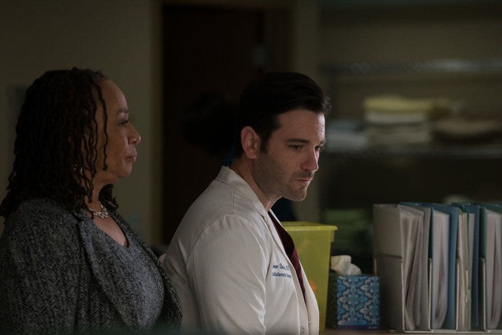 """CHICAGO MED -- """"Win Loss"""" Episode 202 -- Pictured: (l-r) S. Epatha Merkerson as Sharon Goodwin, Colin Donnell as Connor Rhodes -- (Photo by: Elizabeth Sisson/NBC)"""